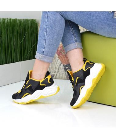Pantofi Sport De Dama Captur Negru Cu Galben - Trendmall.ro