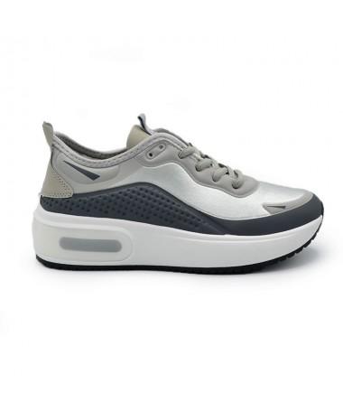 Pantofi Sport De Dama Carla Alb Cu Gri - Trendmall.ro