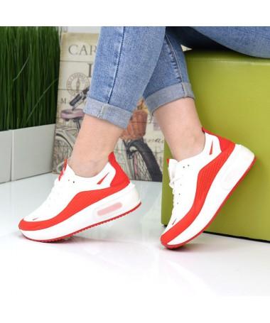 Pantofi Sport De Dama Carla Alb Cu Rosu - Trendmall.ro