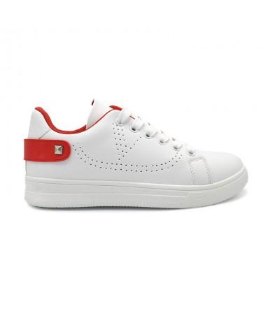 Pantofi Sport De Dama Haili Alb Cu Rosu - Trendmall.ro