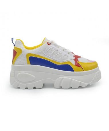 Pantofi Sport De Dama Voli Alb cu Galben - Trendmall.ro