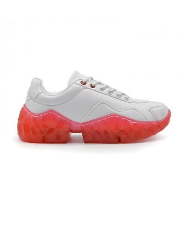 Pantofi Sport De Dama Floraly Alb cu Rosu - Trendmall.ro