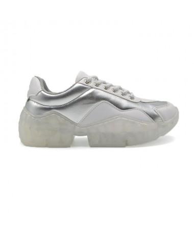 Pantofi Sport De Dama Floraly Alb cu Argintiu - Trendmall.ro