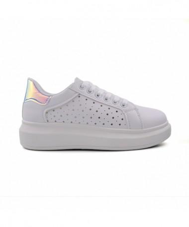 Pantofi Sport De Dama Galip Alb Cu Argintiu - Trendmall.ro