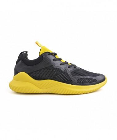 Pantofi Sport De Barbati Berli Negru Cu Galben - Trendmall.ro