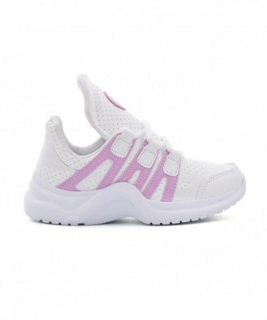 Pantofi Sport De Copii Zini Alb Cu Roz - Trendmall.ro