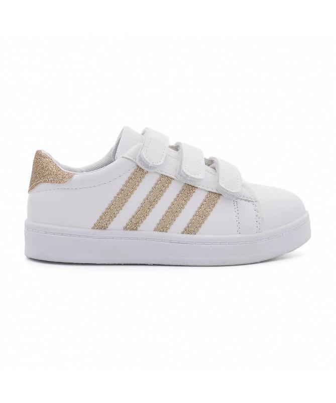 Pantofi Sport De Copii Abi Alb Cu Auriu - Trendmall.ro