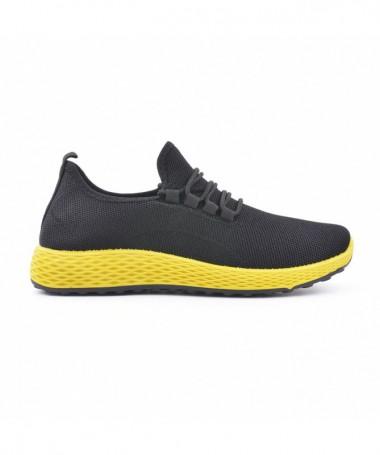 Pantofi Sport De Barbati Dur Negru Cu Galben - Trendmall.ro