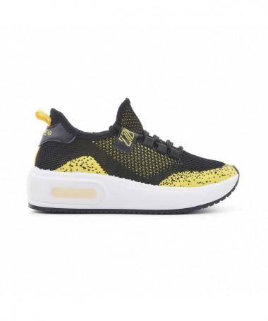 Pantofi Sport De Dama Caselino Negru Cu Galben - Trendmall.ro