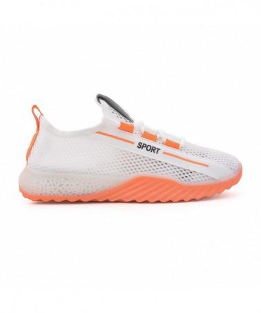 Pantofi Sport De Dama Florinia Alb Cu Portocaliu - Trendmall.ro