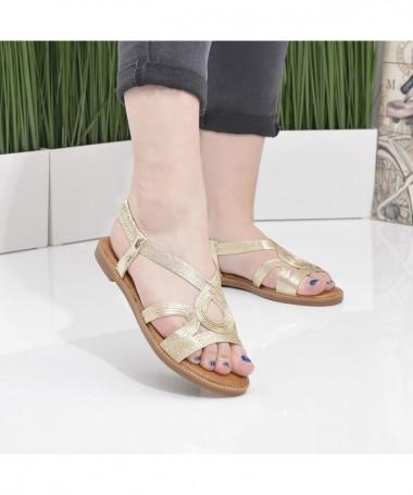 Sandale Cu Talpa Joasa Dori Auri - Trendmall.ro