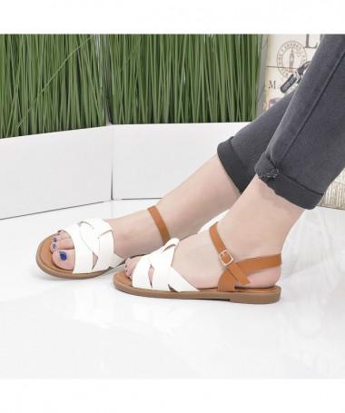 Sandale Cu Talpa Joasa De Dama Crisa Albi - Trendmall.ro