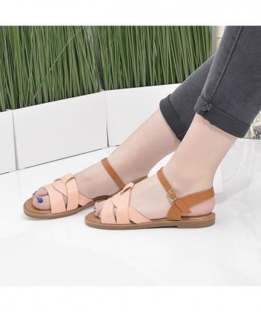 Sandale Cu Talpa Joasa De Dama Crisa Roz - Trendmall.ro
