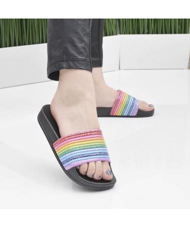Slapi De Dama Rainbow Negri - Trendmall.ro