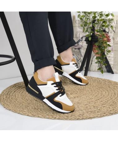 Pantofi Sport De Dama Auris Alb Cu Galben - Trendmall.ro