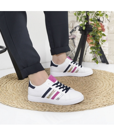 Pantofi Sport De Dama Amelio Alb Cu Albastru - Trendmall.ro
