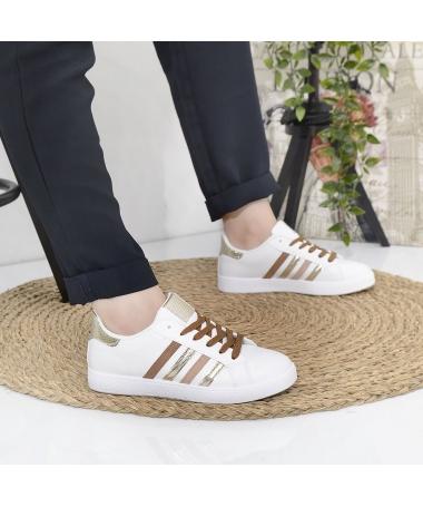 Pantofi Sport De Dama Amelio Alb Cu Maro - Trendmall.ro
