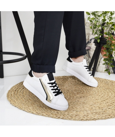 Pantofi Sport De Dama Cerna Alb Cu Bej - Trendmall.ro