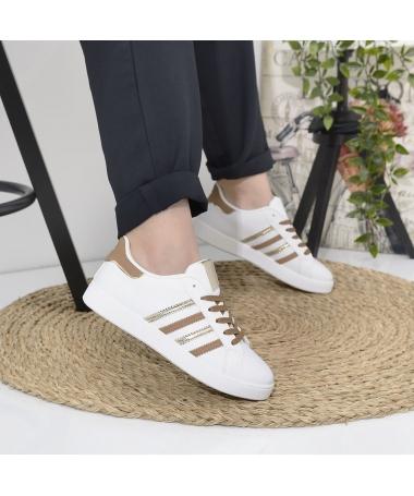 Pantofi Sport De Dama Noel Alb Cu Bej - Trendmall.ro