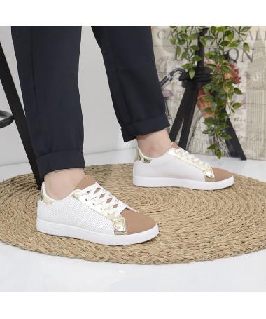 Pantofi Sport De Dama Franc Alb Cu Maro - Trendmall.ro