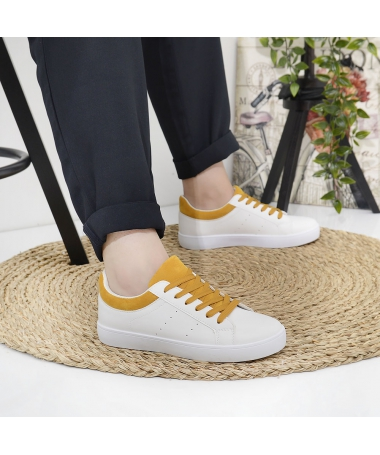 Pantofi Sport De Dama Marim Alb Cu Galben - Trendmall.ro