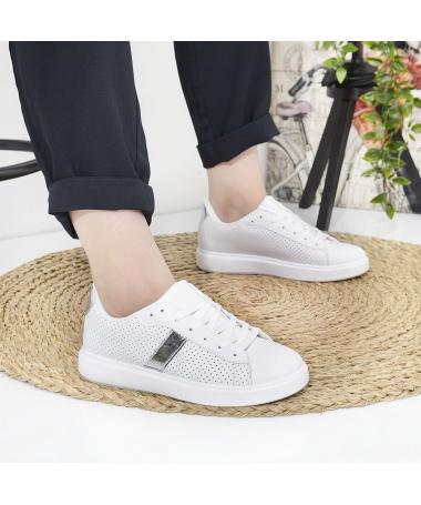 Pantofi Sport De Dama Udri Albi Cu Argintiu - Trendmall.ro