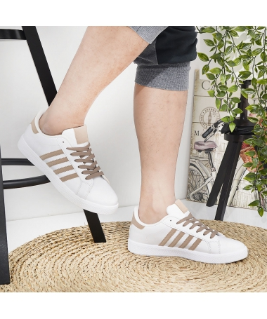 Pantofi Sport De Barbati Achim Alb Cu Bej - Trendmall.ro