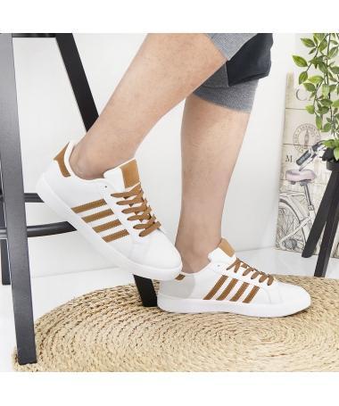 Pantofi Sport De Barbati Achim Alb Cu Maro - Trendmall.ro