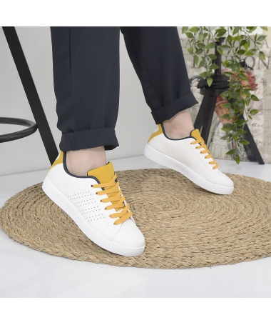 Pantofi Sport De Dama Podre Alb Cu Galben - Trendmall.ro