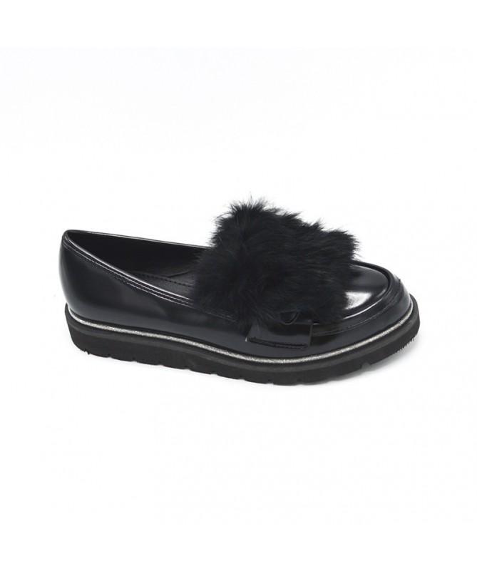 Pantofi Ellana Cu Puf De Dama Negri - Trendmall.ro