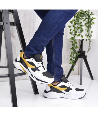 Pantofi Sport De Barbati Pleni Alb Cu Negru - Trendmall.ro