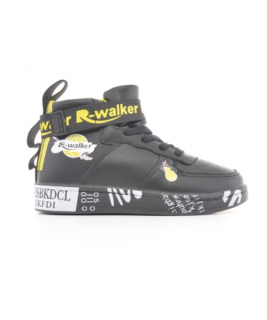 Pantofi Sport De Copii Walker Negru Cu Galben - Trendmall.ro