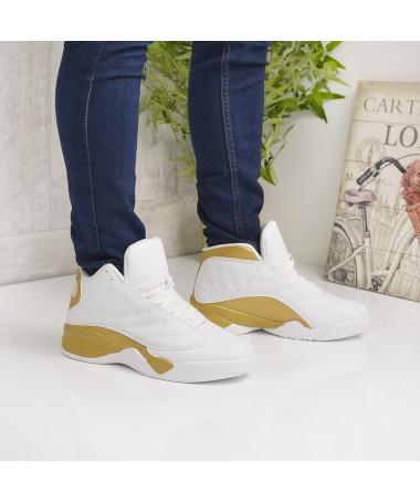 Pantofi Sport De Barbati Funion Albi Cu Auriu - Trendmall.ro