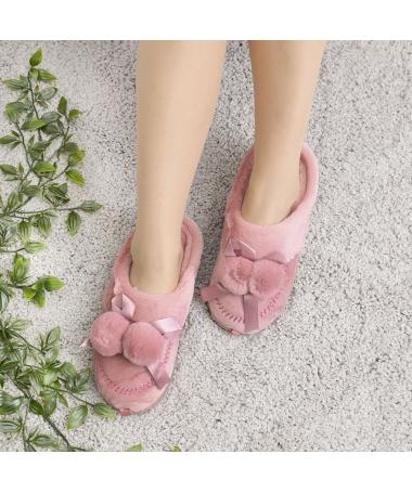 Papuci De Casa De Dama Ciucure Piersica - Trendmall.ro