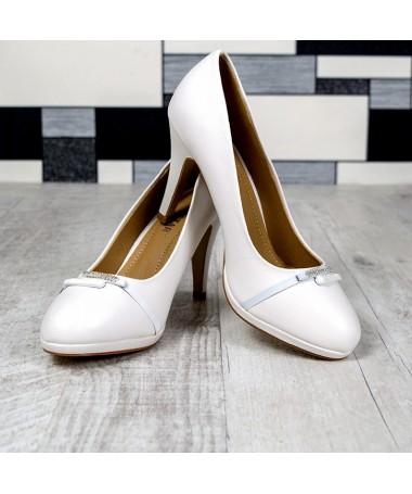 Pantofi Cu Toc Destiny Albi De Dama - Trendmall.ro