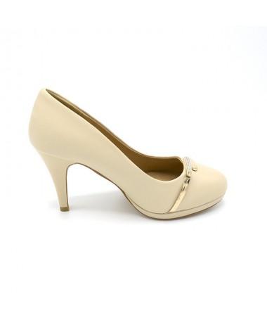 Pantofi Cu Toc Destiny Bej De Dama - Trendmall.ro