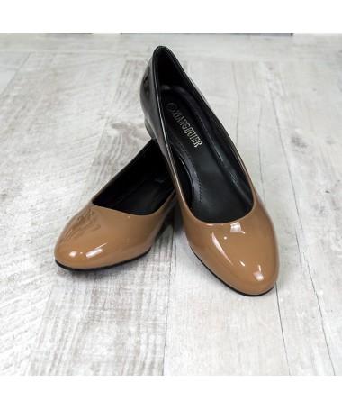 Pantofi Cu Toc Klara Degrade Crem Cu Negru - Trendmall.ro