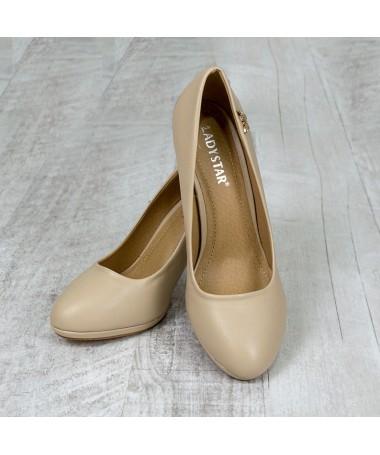 Pantofi Cu Toc Ramina Bej - Trendmall.ro