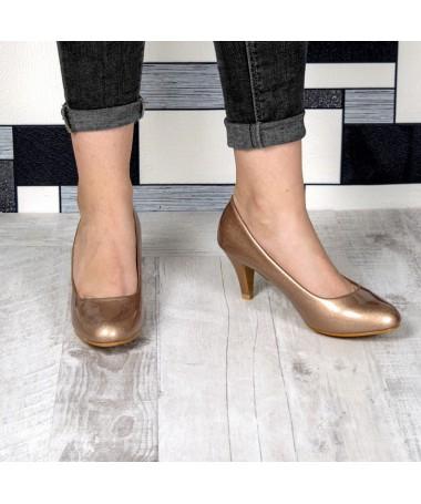 Pantofi Cu Toc Gralia Aurii De Dama - Trendmall.ro