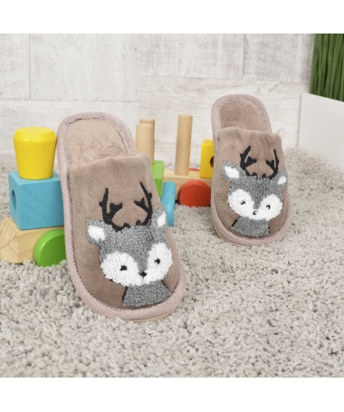 Papuci De Casa De Copii Minireni Maro - Trendmall.ro