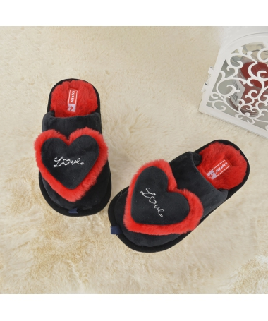 Papuci De Casa De Copii Love Heart Negri - Trendmall.ro