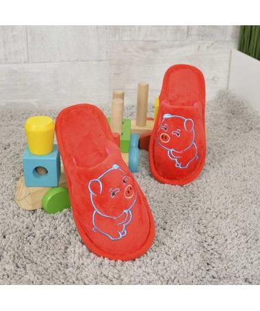 Papuci De Casa De Copii Minpig Rosii - Trendmall.ro