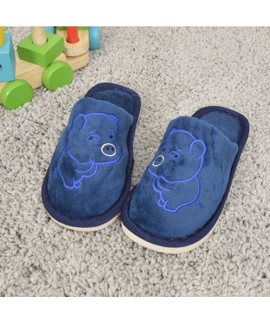 Papuci De Casa De Copii Minpig Albastru Inchis - Trendmall.ro