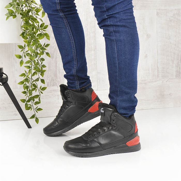 Pantofi Sport Imblaniti De Barbati Agon Negri cu Rosu - Trendmall.ro