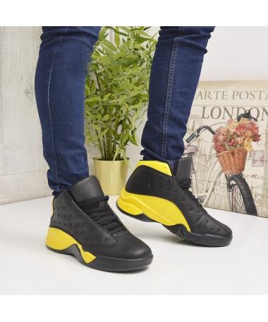 Pantofi Sport De Barbati Funion Negri cu Galben - Trendmall.ro
