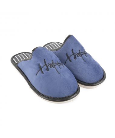Papuci De Casa De Barbati Happy 2 Albastri - Trendmall.ro