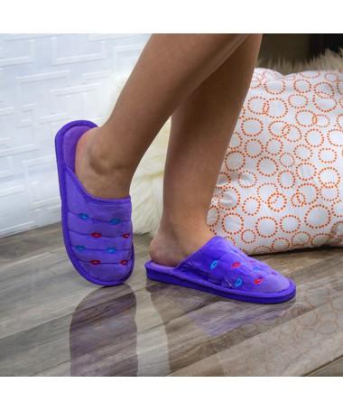 Papuci De Casa Perra Mov - Trendmall.ro