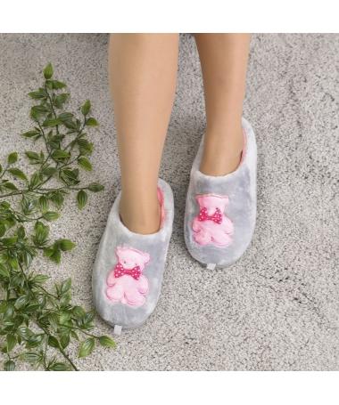 Papuci De Casa De Dama Sarin Gri - Trendmall.ro