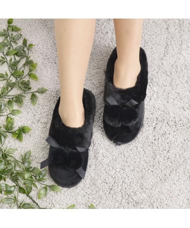 Papuci De Casa De Dama Ciucure Negri - Trendmall.ro