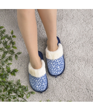 Papuci De Casa De Dama Ono Ron Albastru - Trendmall.ro